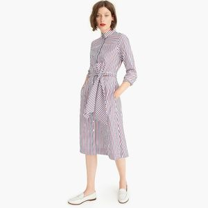 J. Crew Striped Tie Waist Shirt Dress